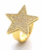 Wholesale Yellow Gold Wedding Rings Set - 2017 yellow gold color mens jewelry wedding engagement hip hop bling size 9-11 micro pave cz star mens gold rings