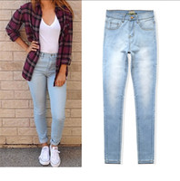 Wholesale Plus Size High Waisted Leggings - Wholesale- Vintage casual skinny high waisted jeans washed full length women pencil pants trousers leggings plus size womans feminino