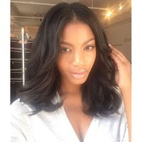 Wholesale Best Quality Remy Hair Wigs - Short Length Lace Wigs Color 1b Natural Wave Best Quality 100% Virgin Remy Brazilian Human Hair Full Lace Wigs Free Shipping
