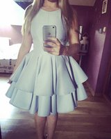Wholesale Mini Skirts Satin Girls - Light Sky Blue Short Homecoming Dresses Puffy Skirts Tiered Ruffles Sweet 16 Girls Dress A-line Mini Cocktail Party Dresses for Graduation
