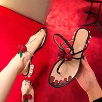 Flat Heel black cherry band - 2017 Summer New Style Cherry Rhinestones Embellished Leather T Strap Pearl Decorated Heel Thong Sandal Flats