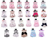 Wholesale Ear Flowers - 23 Style Baby Girls Shorts Flower Bowknot Shorts+Buny Ear Headband Summer Bow Toddler 2pcs Suits Cute Printed Infant Clothes Set C478