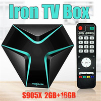 Wholesale Internet For Tv - Presale MAGICSEE Iron Internet Box For TV Amlogic S905X Android 6.0 TV Boxes 2GB 16GB 2.4G WIFI 4K H.265 HDMI2.0 Best Internet TV Box