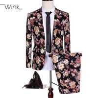 disfraces de animales para tallas grandes al por mayor-Al por mayor- (Jacket + Pant) Trajes de lujo Blazer Hombres Flores Slim Fit Trajes Plus Size 5XL Solo botón Traje Homme Wedding Dress Party S144
