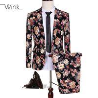 Wholesale animal costume suits - Wholesale- (Jacket+Pant) Luxury Blazer Suits Men Flowers Slim Fit Suits Plus Size 5XL Single Button Costume Homme Wedding Dress Party S144