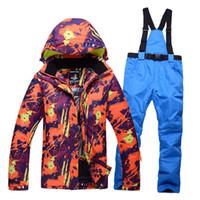 Wholesale Ski Suit Men Pants - Wholesale- 2017 winter outdoor men's ski suit suit waterproof windproof warm thickening ski jacket and ski pants male models free shipping
