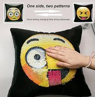 Wholesale Changeable Case - Reversible Sequin Mermaid Pillow Case Emoji Changeable Face Cushion Cover Pillow Cases Decorative Pillowcase for Sofa Home Size 40*40cm