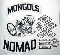 Wholesale Motorcyle Jackets - Top Quality MONGOLS NOMAD MC Biker Vest Embroidered Patch 1% MFFM IN Memory Iron On Full Back of Jacket Motorcyle Patch Free Shipping