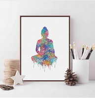 Pintura Abstracta Buddha Baratos-Original Acuarela Buda Retrato Zen Gran Art Prints Poster Abstracto Pared Pictures Canvas Painting Living Room Home Decor