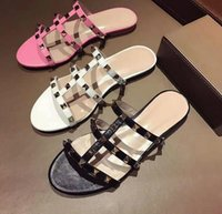 Wholesale Gladiator Style Heels - Summer Pink White Leather Open Toe Women Slippers Casual Style Flat Bottom Women Sandals Studded Rivets Gladiator Sandals