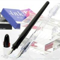 Wholesale Pilot Pens - Wholesale- 1Pc Pilot FP-50R Penmanship Fountain Pen sketch pen EF0.38mm F0.5 mm M0.7mm Black Transparent Body Colors Writing Supplies