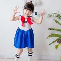 Wholesale Navy Stripe Dresses Girl - Korean style 2017 new arrival girl summer Navy wind college wind stripe stitching Dress high quality cotton bowknot dress free shipping