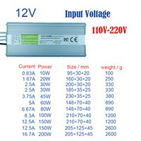 adaptador 45w al por mayor-fuente de alimentación led a prueba de agua IP67 Adaptador de corriente DC12V salida 10W 20W 30W 45W 60W 80W 100W 150W 200W transformadores a prueba de agua