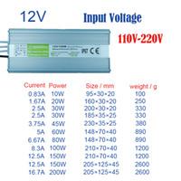 adaptör 45w toptan satış-Su geçirmez led güç kaynağı IP67 Güç Adaptörü DC12V çıkışı 10 W 20 W 30 W 45 W 60 W 80 W 100 W 150 W 200 W su geçirmez led transformers