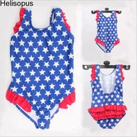 Wholesale Girl Swimwear Back - Helisopus Cute U-back Printing Swimsuit Summer Beach Style One Piece Girls Kid Swimwear Stars Princess Pool Halter Bathing Suit