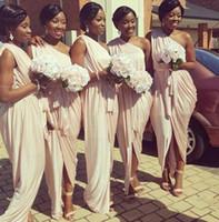 vestidos de damas de honor únicos al por mayor-Vestidos de dama de honor griegos afroamericanos 2017 único de un hombro melocotón rosa sirena vestidos formales largos para mujeres con faja