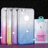PACOTE DE RETAIL: híbrido 3 em 1 gradiente Bling Glitter Shiny Case para iphone 7plus iphone 6 casos Samsung S6 S7edge s8 s8plus