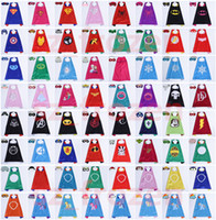 Wholesale Christmas Star Design - Newest 81 Designs Double Side Superhero Cape 70*70cm Spider Man Girl Cape with Mask for Kids Christmas Halloween Cosplay Capes Prop Costumes
