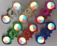 Wholesale Finger Spinner Fidget Spinner LED light Metallic Electro Plated colors PDQ retail box P024