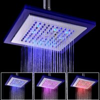 "Wholesale square rain shower lights - 3 Colors Auto Changing LED Shower 8"" Square Head Light Water Bathroom Rain Top Rainfall shower heads"