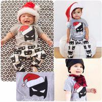 Wholesale Boys Dress Clothes 24 Months - Newborn baby boy summer Christmas short sleeve batman cartoon T-shirt +pants 2-piece outfit cotton kid casual sport clothing set XMAS dress