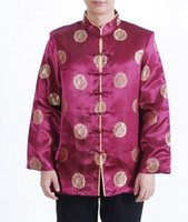 Wholesale Men S Formal Coats - Wholesale- Burgundy Chinese Traditional Men Silk Satin Jacket Vintage Totem Coat Apec Tang Suit Clothing S M L XL XXL XXXL MJ025