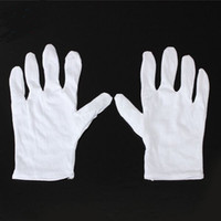 Wholesale Glove Housework - 24pcs=12Pair Useful White Cotton Gloves For Housework Workers With Knits For Safely Security Working Labor Free Shipping