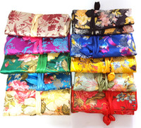 Wholesale Wholesale Silk Jewelry Roll - Women Jewelry Roll Travel Storage Bag, Silk Embroidery Packaging Pouches, Mix Color, sold by lot (10pcs lot)