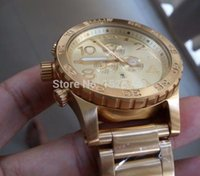 Wholesale NX Mens CHRONOGRAPH A083 A083502 all Gold Stainless Steel Quartz Watch mm water proof Gold Dial Watch original box