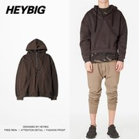 Wholesale String Zip - Wholesale- Oversized Hood Kanye West Fashion Men Sweatshirts HEYBIG hip hop Hoodies Zip collar with Draw string 2016 F W Asian Size!