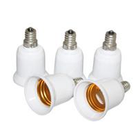 adaptateurs e27 e12 achat en gros de-E12 à E27 Light Socket Candelabra Light Ampoule Socket Adaptateur Adaptateur Bulb Base Adaptateur Converter Pack de 5 Blanc