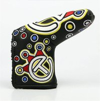 Wholesale Club Equipment - clown embroidery Golf HeadCover High Quality PU Golf Clubs Putter Cover in blue red green black Golf equipment Free shipping