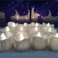 Wholesale Wholesale Flicker Tea Lights Candles - Flameless Yellow Flicker Tear Wax Drop Candle Mini Battery Operated Tea Lights New Arrive Realistic Led Tea Light Candle