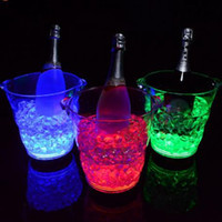 Wholesale Wholesale Bar Ice Buckets - Wave Shaped Ice Bucket LED ICE Bucket Champagne Party Bucket Ice Luminous Colors Lucky Buckets For Bars Decoration Buckets CCA6812 10pcs