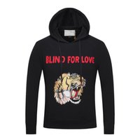 Wholesale Good Quality Hoodies For Men - 2017 Good Quality Tiger pattern Men's Hoodies BLIND FOR LOVE Letter ,Autumn Winterv Casual Long Sleeve Sweatshirts #2E100A