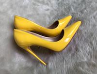 vestido rojo bolsas de dulces al por mayor-Venta caliente de charol color caramelo amarillo rojo blanco zapatos italianos con bolsas a juego Primavera tacones altos para las mujeres vestido bombas para Lady Big42