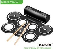Wholesale Portable Midi Drum - Wholesale-Hot KONIX MD759 Digital Foldable Portable 7 Drum Pad Musical Instrument Electronic MIDI Drum set Silicon Roll-up Drum Kit Sticks