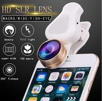 Wholesale Wholesale Macro Flash - 4 in 1 Selfie Flash Light mobile Phone Lens kit 0.62X Wide 15X Macro 205 Degree Fisheye Lens For iPhone 7 6S Samsung S8 S7 edge