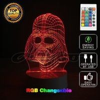 Wholesale Use Ball Lamp Light - Creative Gifts 3D Remote Desk Night Light Star Wars Darth Vander 2 Lamp used Changing Baby Sleeping Night Light