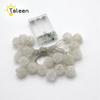 Wholesale Cheap Led White Christmas Lights - Wholesale- Cheap 2PCS Silver Ball AA Battery Operated LED String Lights for Xma Party Wedding Decoration Christmas Flasher Fairy Lights
