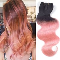Wholesale Hot Pink Hair Dye - Ombre Brazilian Hair 2 Tone Brazilian Virgin Hair Body Wave HOT Ombre Hair Extension Pink rose gold