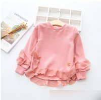 Wholesale Love Pink Clothing Sweaters - Children sweaters girls round collar long sleeve tulle knitting pullover children love-heart Sequins sweatshirt autumn kids clothes G0333