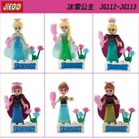Wholesale Block Princess - Princess Girl Figures Elsa Queen Anna Olaf Building Blocks Sets Model Toys Figures For Children