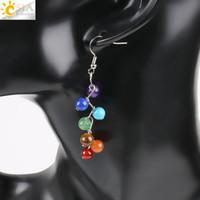 Wholesale Jewellery Bead Designs - CSJA Tree Branch Design Fashion Balance Chakra Natural Gemstone Beads Charm Hook Dangle Earrings Women Handmade Jewelry Ear Jewellery E706