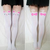 Wholesale Sexy Tattoos Women Cartoon - Wholesale-Cute Women Girls Cartoon Cat Tail Pattern Tattoo Pantyhose Sexy Sheer Thin False Knee High Hosiery Tights Stocking 2016 Hot