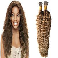 hellbraune lockige haarverlängerungen großhandel-# 8 Light Brown Keratin Spitze Haarverlängerung 100 g / Strähnen vorverbundene Menschenhaarverlängerungen I Tip Extensions 100 s tiefe lockige Haarkapseln
