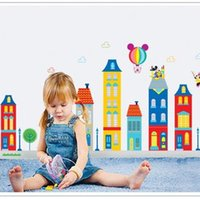 Wholesale Building Home Design - Wall Stickers Cute Building For Kid Living Room Backdrop Water Proof Lovely Cartoon Decal Fashion Home Decor 4 5xy F R