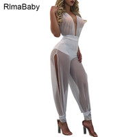 Wholesale Women S Jumpsuit Splits - Wholesale- Sexy Beach Party Lace Up Halter Mesh Rompers Women Jumpsuit Summer Deep V Neck Backless Side Split See Through Overalls Playsuit
