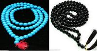mala perlen halsketten großhandel-Großhandel Tibetanischer 8-12mm Buddhist 108 Türkis / jade Gebetskette Mala Halskette