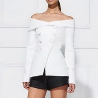 Wholesale Women Double Breasted Blazer - Women Solid White Black Sexy V neck Off shoulder Button Down Long Sleeves Blazer Double Breasted Blazer Jacket Coat Suit Top